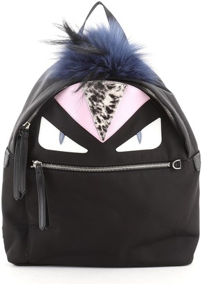 Fendi Monster Backpack Nylon with Leather and Fur Medium