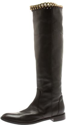 Sergio Rossi Brown Leather Chain Trim Knee Length Boots Size 40.5