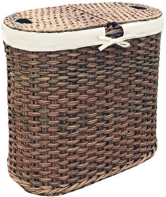 Seville Classics Hand Woven Oval Double Laundry Hamper With Liner