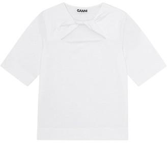 Ganni Twist-Front Cotton Jersey T-Shirt