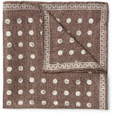 Brunello Cucinelli Polka-dot Silk-jacquard Pocket Square - Brown
