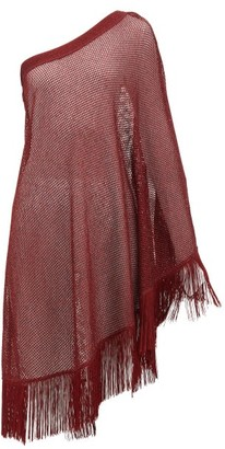 Missoni Mare - One-shouldered Metallic Crochet-knit Kaftan - Womens - Burgundy