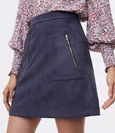 LOFT Faux Suede Zip Pocket Skirt