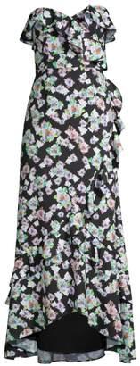 Aidan Mattox Floral Strapless Flounce Dress