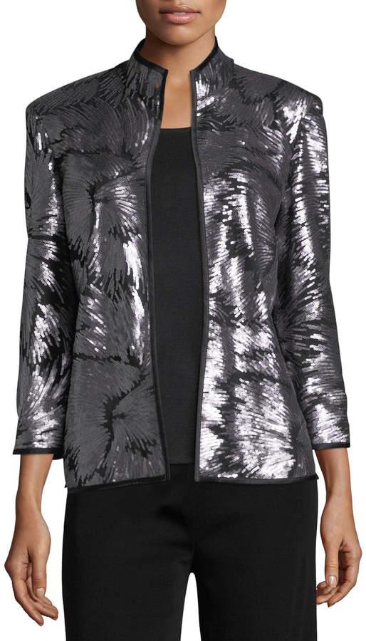 Misook Sequin Burst Jacket, Silver/Black