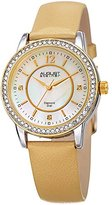 August Steiner Women's Quartz Stainless Steel and Leather Casual Watch, Color:Beige (Model: AS8227GLD)
