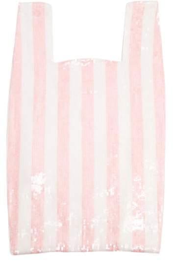 Ashish Striped Sequin Embellished Cotton Bag - Womens - Pink White