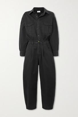 Frame Pleated Stretch-denim Jumpsuit - Black