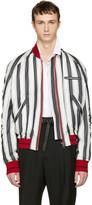 Haider Ackermann White Striped Silk Bomber