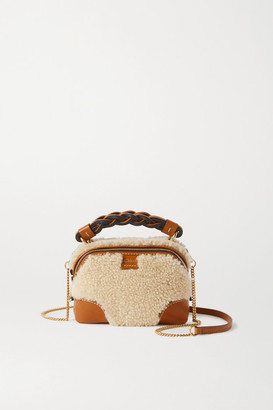 Chloé Daria Mini Leather-trimmed Shearling Tote - Camel
