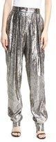 Michael Kors Lamé Pleated High-Waist Trousers, Silver