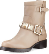 RED Valentino Rockstud Leather Moto Bootie, Natural