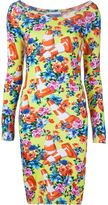 Moschino floral and traffic cone dress - women - Cotton - 40