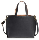 Street Level Junior Women's Reversible Faux Leather Tote - Black