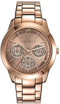 Esprit Angie Women's Quartz Watch with Brown Dial Analogue Display and Rose Gold Stainless Steel Bracelet ES108422004