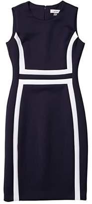 Calvin Klein Color-Block Sheath Dress (Indigo/White) Women's Dress
