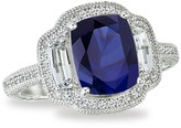 Lafonn Micro Pave Simulated Diamond Sterling Silver & Blue Sapphire Cushion Band Ring