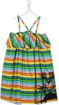 Msgm Kids TEEN striped palm tree dress
