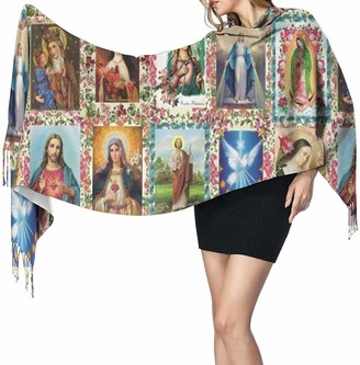 Yjwlo Catholic Saints Images Collage Soft Cashmere Shawl Wrap Scarves Long Scarves For Women Office Party Travel 68X196 cm