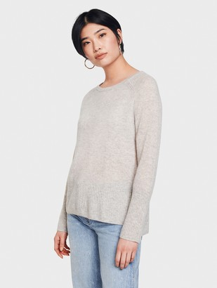White + Warren Cashmere Ribbed Trim Crewneck