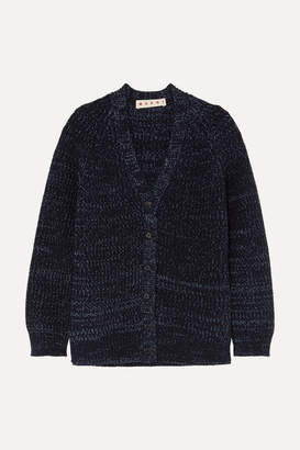 Marni Oversized Ribbed Mélange Wool Cardigan - Navy
