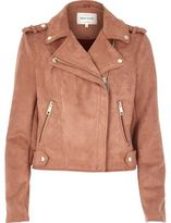 River Island Womens Dusty pink faux suede biker jacket