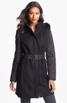 Kenneth Cole New York Faux Fur Trim Mixed Media Coat (Online Only)