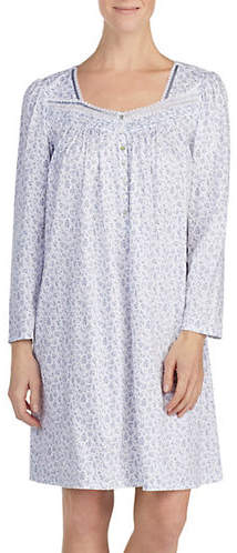 Eileen West Long Sleeved Short Floral Nightgown