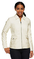As Is Dennis Basso Faux Leather Perforated Zip Front Jacket