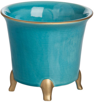 Abigails Jaipur Cachepot, Turquoise With Gold, Small