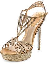 Rene Caovilla Neo Classic Strass Platform Sandal, Oro/Sunshine