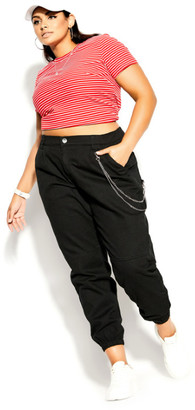 City Chic Cargo Detail Pant - black