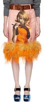 Prada Pink Ostrich Poster Girl Pencil Skirt