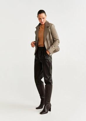 MANGO Lapelled leather biker jacket light/pastel grey - XS - Women