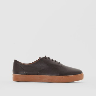 La Redoute Collections Leather Trainers with Honey Coloured Sole