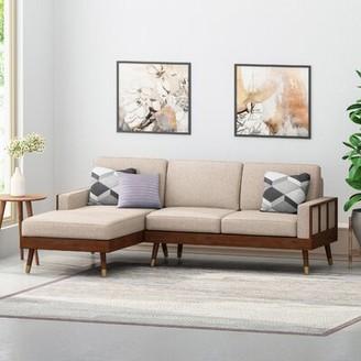 Corrigan Studio Caples Fabric Left Hand Facing Sectional Upholstery Color: Beige