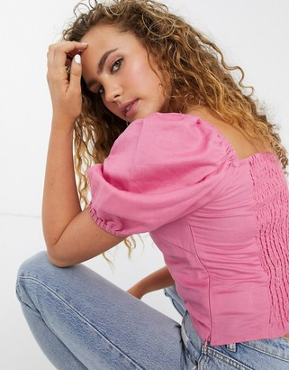 And other stories & linen cropped puff sleeve top in pink