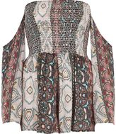 River Island Womens Blue paisley shirred bardot beach playsuit