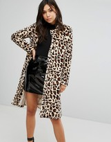 PrettyLittleThing Leopard Print Faux Fur Coat