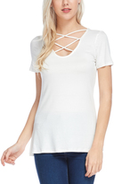 Bellino Ivory Crisscross Scoop Neck Top