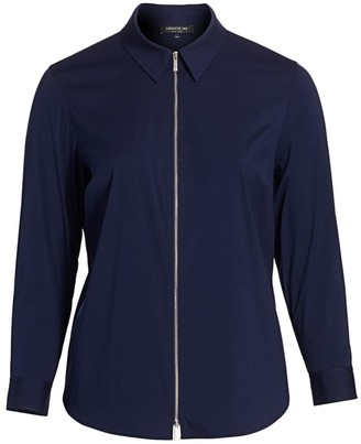 Lafayette 148 New York, Plus Size Connor Zip-Front Blouse