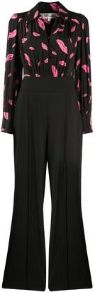 Dvf Diane Von Furstenberg Lips-print wide-leg jumpsuit