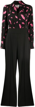 Diane von Furstenberg Lips-print wide-leg jumpsuit