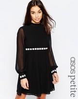 Asos Long Sleeve Contrast Trim Soft Babydoll Dress