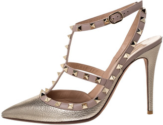 Valentino Metallic Bronze Leather Rockstud Ankle Strap Pointed Toe Sandals Size 41
