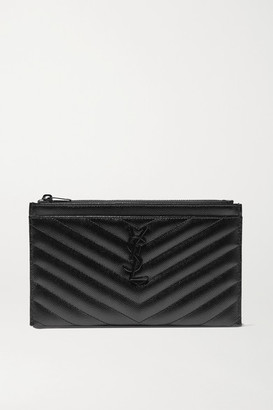 Saint Laurent Monogramme Quilted Textured-leather Pouch - Black