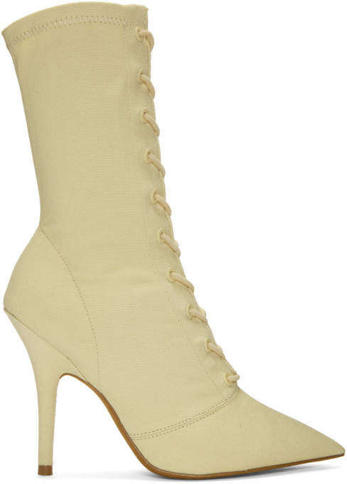 Yeezy Off-White Lace-Up Ankle Boots