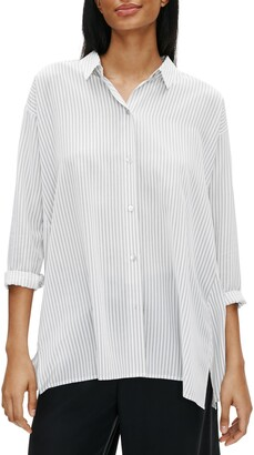 Eileen Fisher Spread Collar Stripe Printed Silk Swing Top