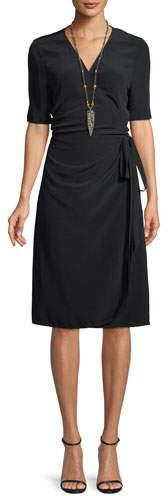 Eileen Fisher V-Neck Half-Sleeve Wrap Dress