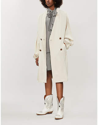 See by Chloe Ladies Dark Cream V Neck Oversized Double Breasted Twill Trench Coat